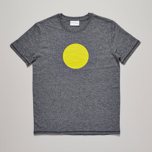 Mens black/grey t-shirt with bright yellow graphic circle — Ordinary Luminary