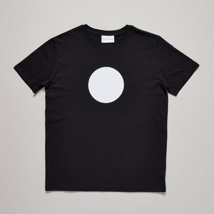 Mens white circle on black medium fit t-shirt — Ordinary Luminary