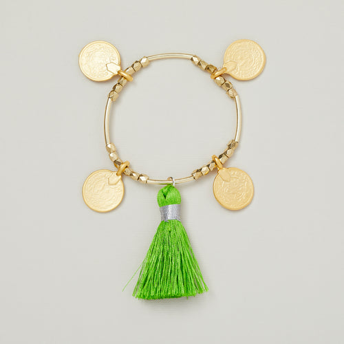 'Ornos' gold coins and gold beads bracelet with green tassel — Ordinary Luminary