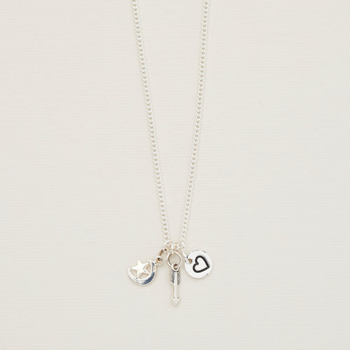Sterling silver charm necklace with arrow, heart and moon and stars — Ordinary Luminary