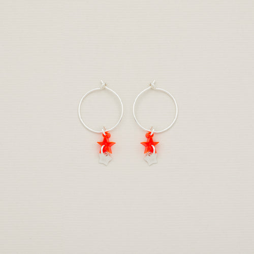 'Starlight' sterling silver earring hoops with neon orange red star and tiny sterling silver star — Ordinary Luminary
