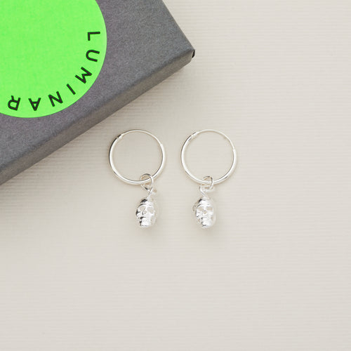 'Love and fear' sterling silver earring hoops with sterling silver silver skulls — Ordinary Luminary