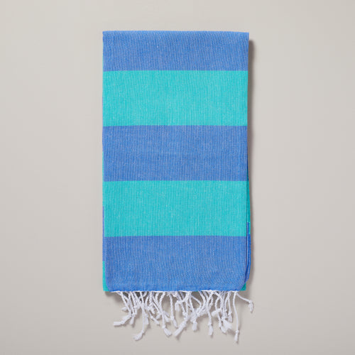 Seychelles, blue and green stripe hammam towel/pestemal — Ordinary Luminary