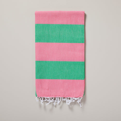 Seychelles, green and pink stripe hammam towel/pestemal — Ordinary Luminary