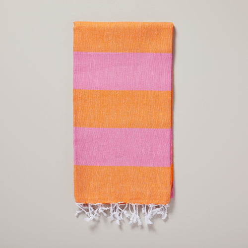 Seychelles, hot pink and orange stripe hammam towel/pestemal — Ordinary Luminary
