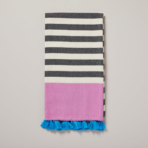 Puerto Rico, black and magenta stripe and blue tassel hammam towel/pestemal — Ordinary Luminary