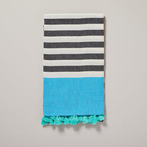 Puerto Rico, black and blue stripe and turquoise tassel hammam towel/pestemal — Ordinary Luminary