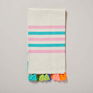 Polzeath, green, pink and multicoloured and neon tassel hammam towel/pestemal — Ordinary Luminary