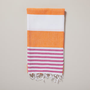 Ibiza, bright orange and fuschia stripe hammam towel/pestemal — Ordinary Luminary