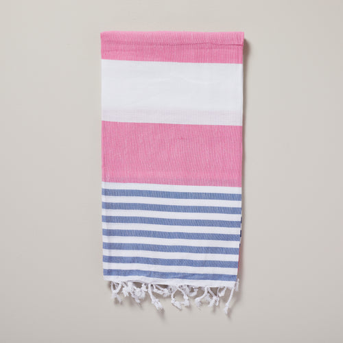 Ibiza, hot pink and denim blue stripe hammam towel/pestemal — Ordinary Luminary