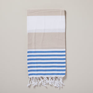 Ibiza, mocha and blue stripe hammam towel/pestemal — Ordinary Luminary