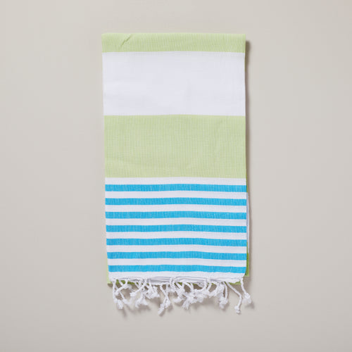 Ibiza, pistachio and turquoise stripe hammam towel/pestemal — Ordinary Luminary