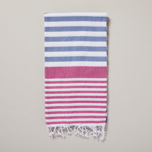 Santorini, bright pink and blue striped hammam towel/pestemal — Ordinary Luminary