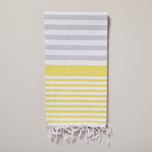 Santorini, bright yellow and light grey striped hammam towel/pestemal — Ordinary Luminary