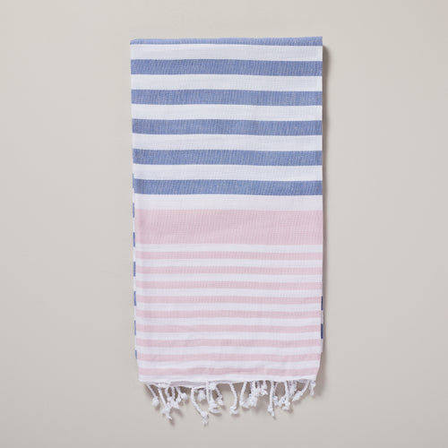 Santorini, baby pink and blue striped hammam towel/pestemal — Ordinary Luminary