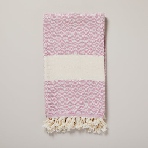 Swedish, lilac rose pink diamond hammam towel/pestemal — Ordinary Luminary