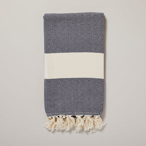 Swedish, navy diamond hammam towel/pestemal — Ordinary Luminary