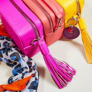 Pink cross body bag, with pink tassel — Ordinary Luminary