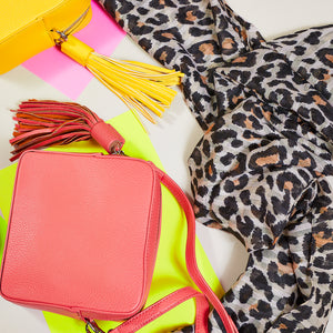 Coral cross body bag, leopard print scarf — Ordinary Luminary