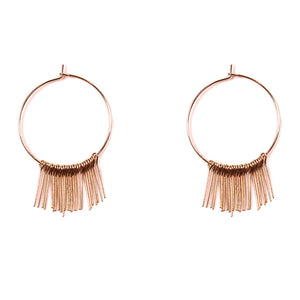 Fringe hoop rose gold earrings
