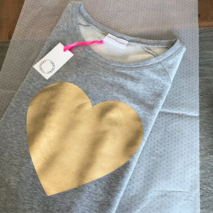 Heart sweatshirt, metallic gold on grey organic cotton — Ordinary Luminary