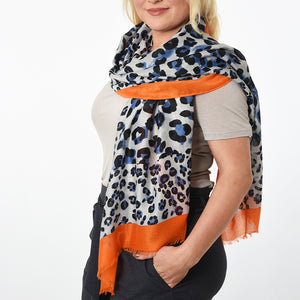 Leopard print scarf blue and orange — Ordinary Luminary