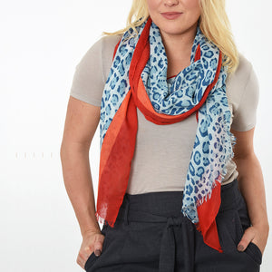 Leopard print scarf light blue red and orange — Ordinary Luminary