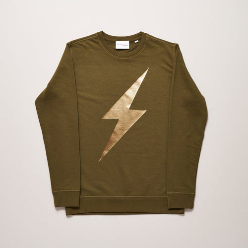 Lightning bolt khaki sweater for women with gold — Ordinary Luminary