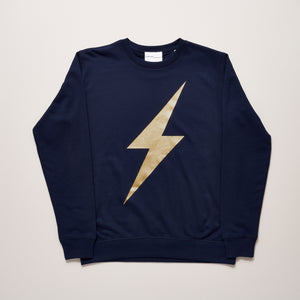 Lightning bolt womens sweater navy and metallic gold — Ordinary Luminary