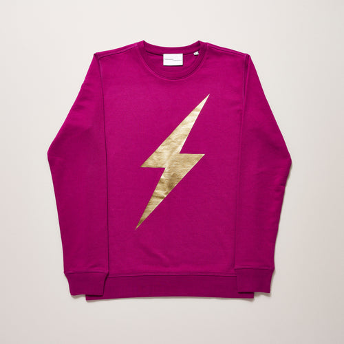 Purple lightning bolt sweater for women with gold — Ordinary Luminary