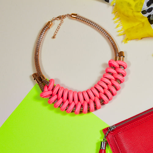 neon pink handknitted cotton rope necklace — Ordinary Luminary