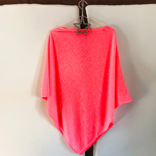 Neon poncho in bright neon coral  — Ordinary Luminary