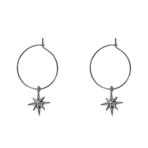silver star hoops earrings