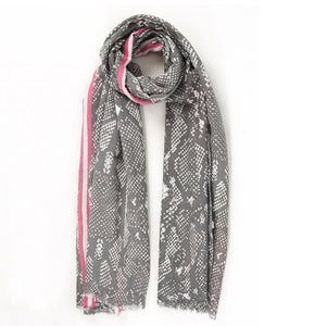 Snake print scarf in grey and pink stripe — Ordinary Luminary