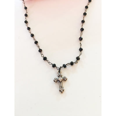 Black Rosary Necklace With Silver Cross and Cubic Zirconia - 2 Lengths - Miraposa