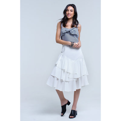 White Midi Skirt With Ruffle Detail - Miraposa