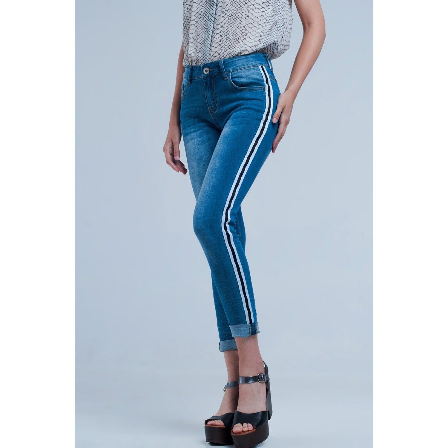 Denim Jeans With Crinkled Legs and Side Stripe - Miraposa
