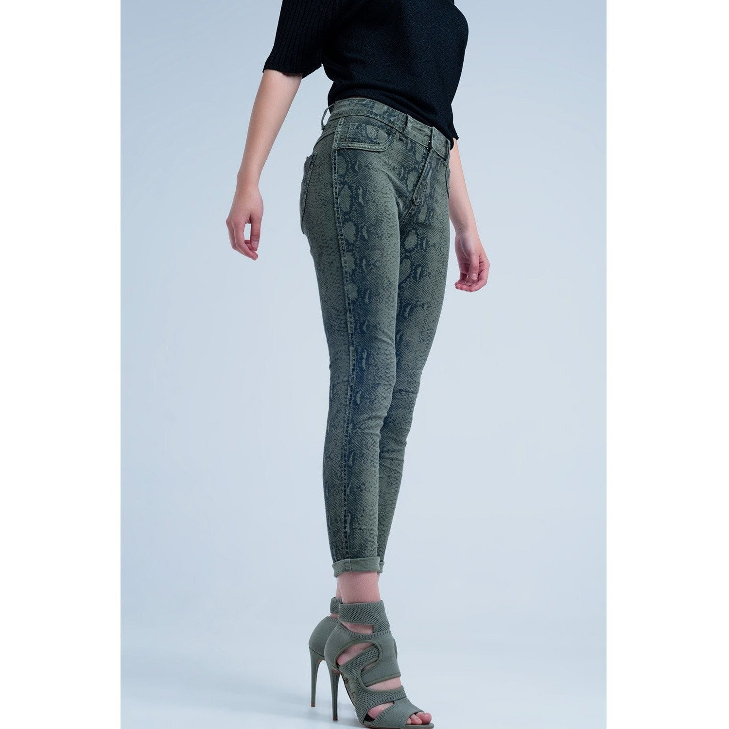 Green Skinny Reversible Jeans With Snake Print - Miraposa