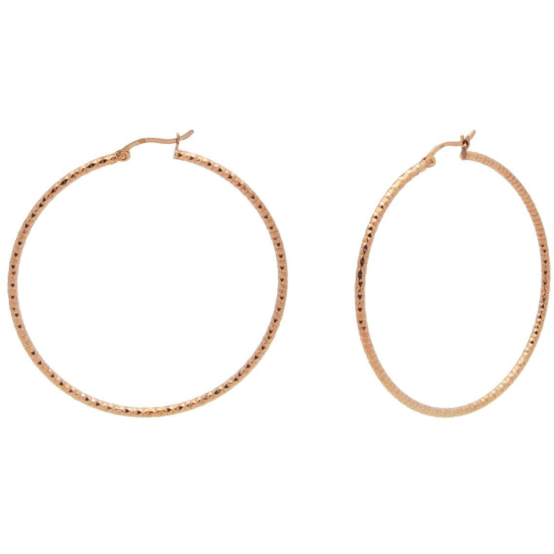 Rose Diamante Cut Hoops (40mm) - Miraposa