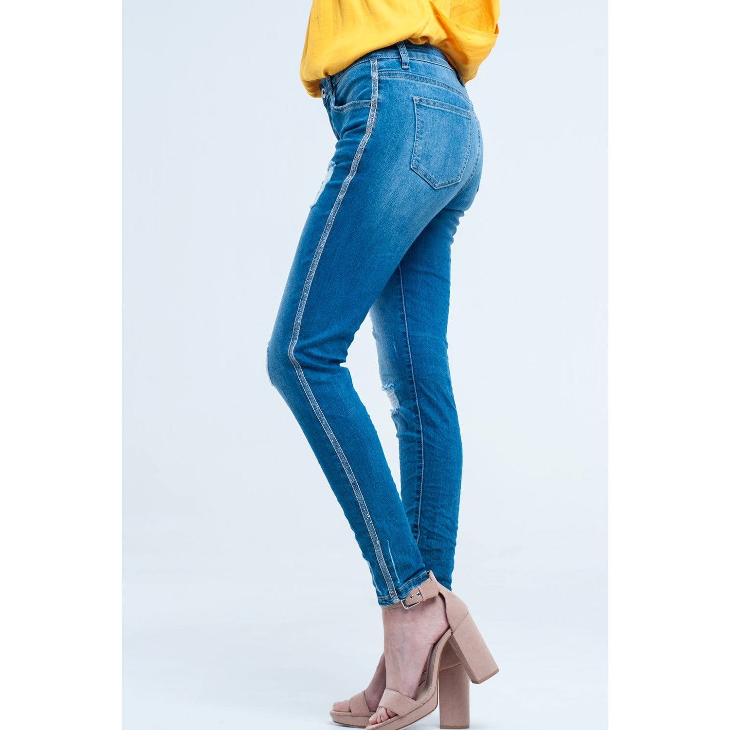 Skinny Jeans With Rips and Glitter Line - Miraposa