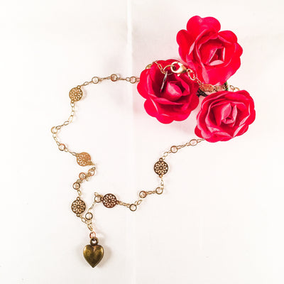 Bronze Heart Charm Necklace With 18kt Gold Plated Flower Chain - Miraposa