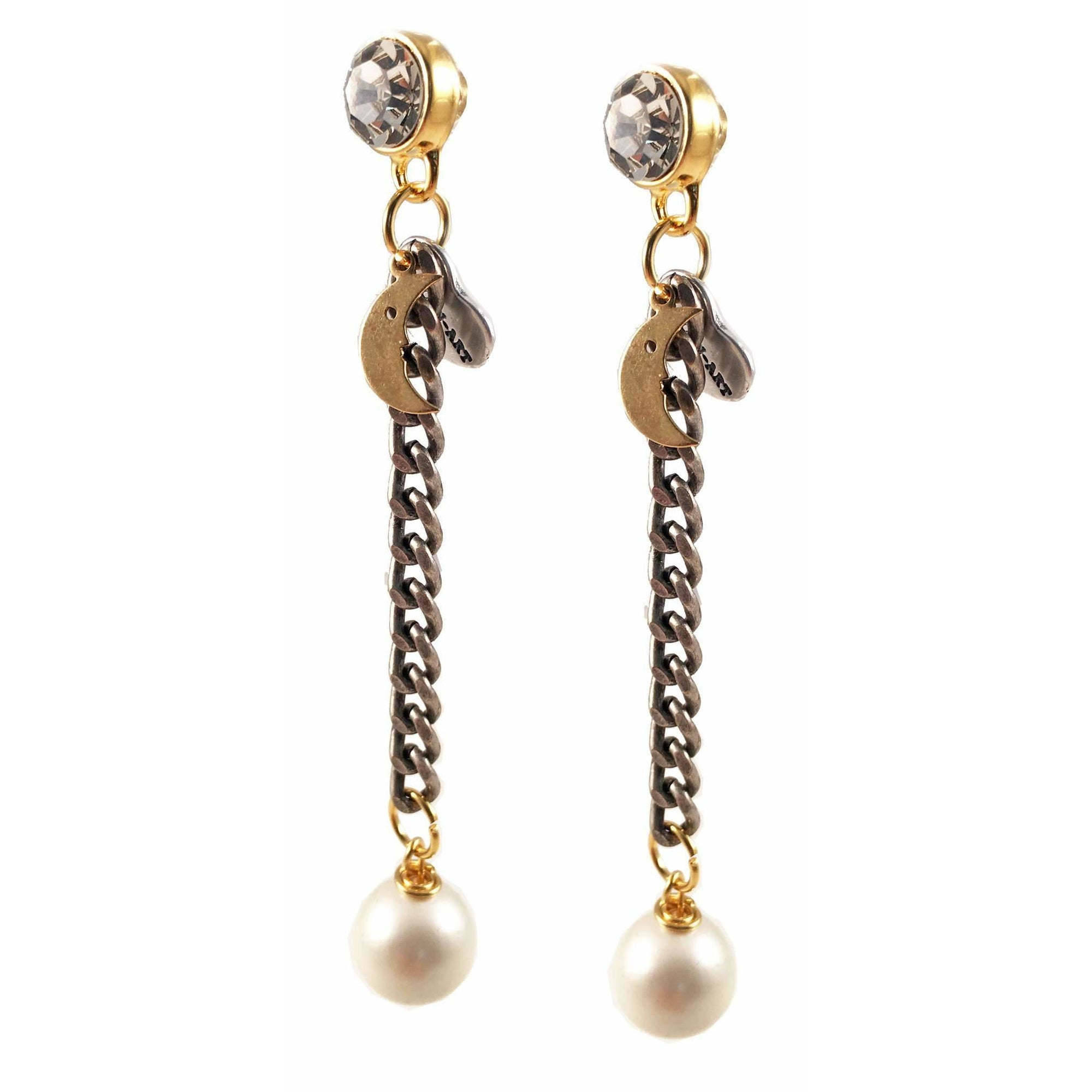 White Pearls and Crystals Dangle and Drop Earrings - Miraposa