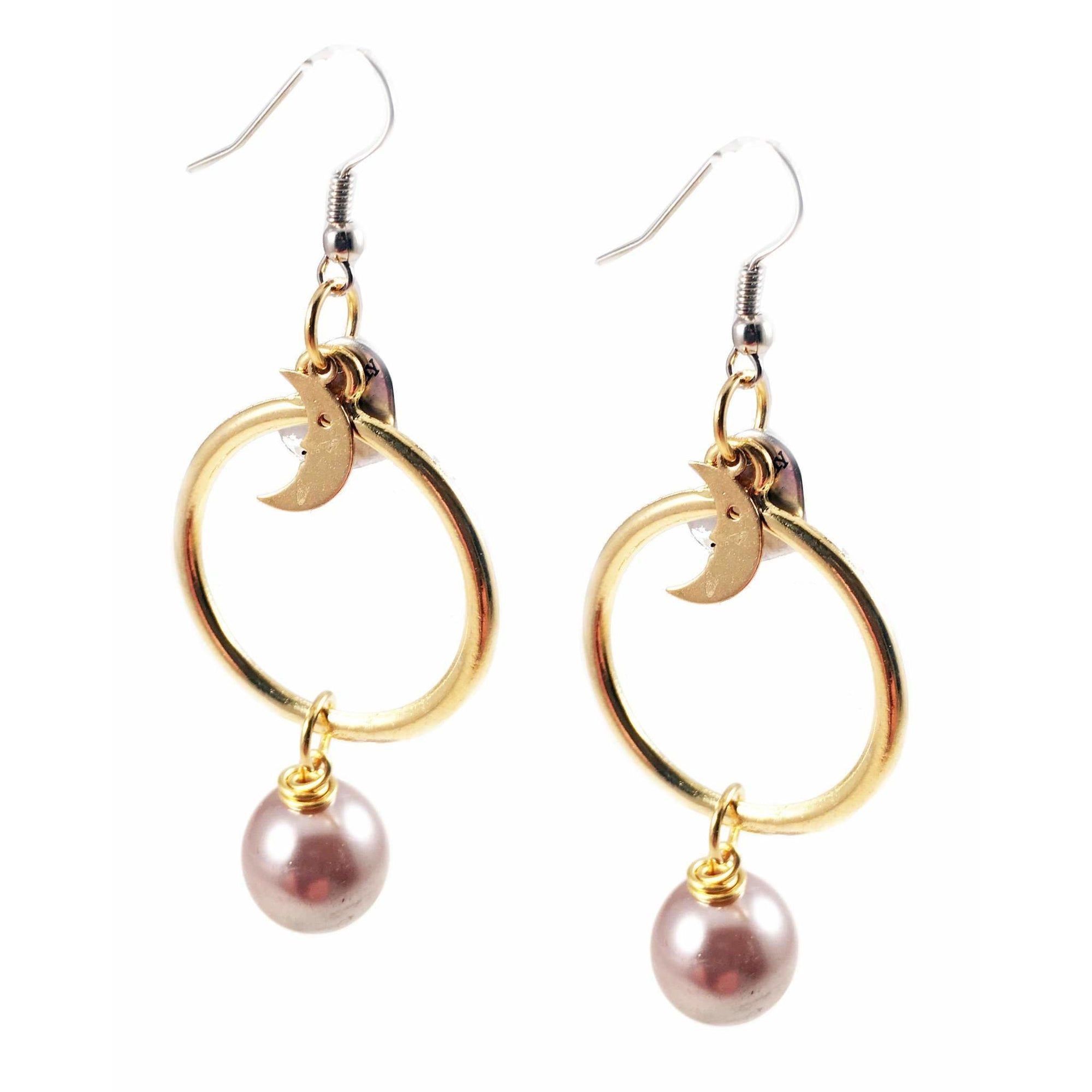18kt Gold Plated and Silver Plated Hoop Earrings With Pearls and Moon Charms - Miraposa