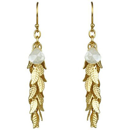 White Silverite And Leaf Cascade Earrings - Miraposa