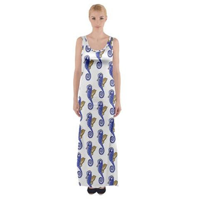 Seahorse Pattern Fitted With Side Slit Cotton Sleeveless Halter Dress - Miraposa