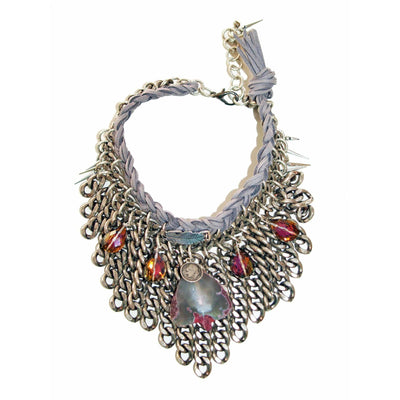 Statement Chocker With Agate Stone and Dust Suede Leather. - Miraposa