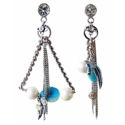 Chandelier Earrings With Blue Agate Stones, Crosses, Feathers, Pearls, Swarovski Crystals and Charms - Miraposa