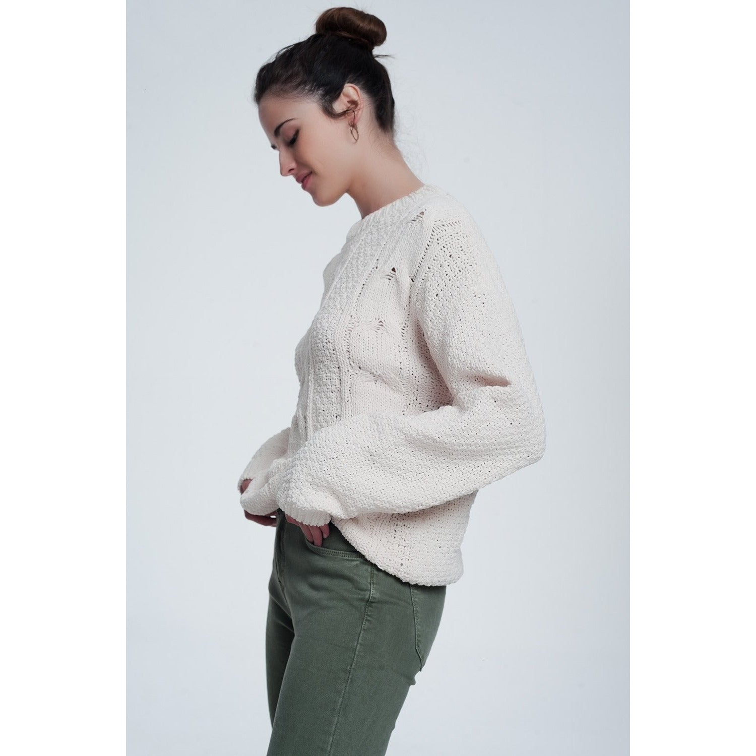Woven Knit Sweater in Cream