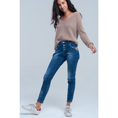 Blue Boyfriend Jeans With Pearls - Miraposa
