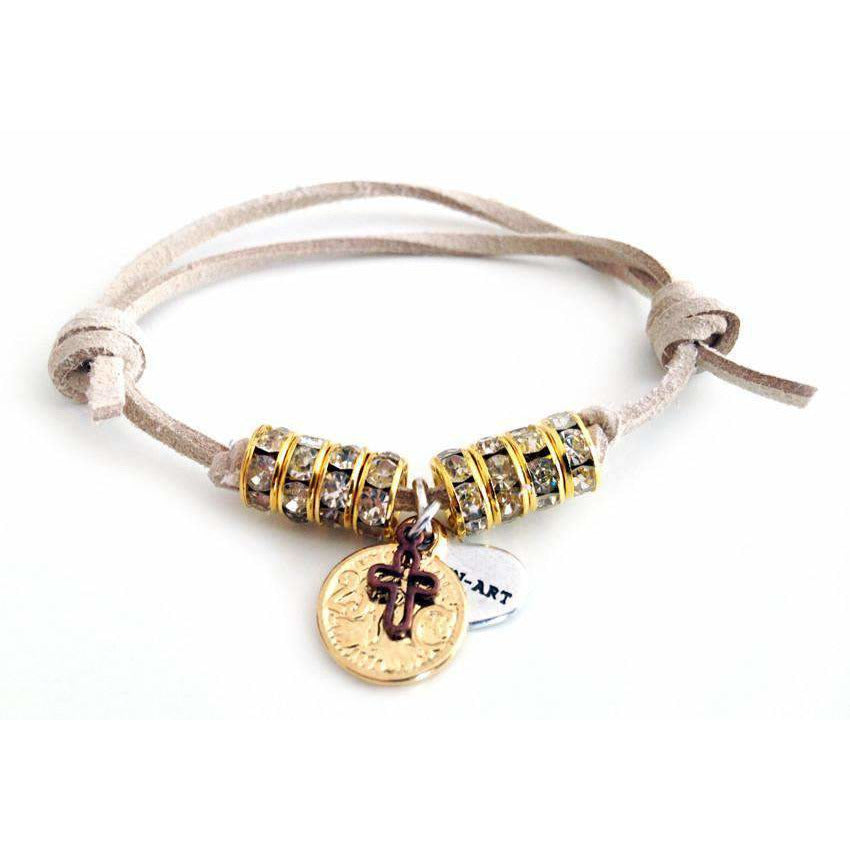 Deerskin Leather Wrap Bracelet With Swarovski Crystals and Burnished Gold Coin Charms - Miraposa